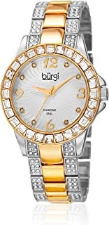 Burgi Women's White Dial Stainless Steel Band Watch - BUR137TTG