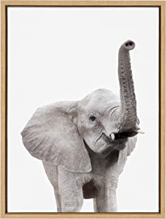 Kate and Laurel Sylvie Elephant with Raised Trunk Animal Print Portrait Framed Canvas Wall Art by Amy Peterson, 18x24 Natural