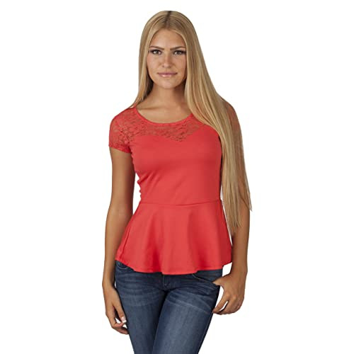 fba50ec2b2af5 Hollywood Star Fashion Women s Short-Sleeve Lace Neck Peplum Top Plus Size
