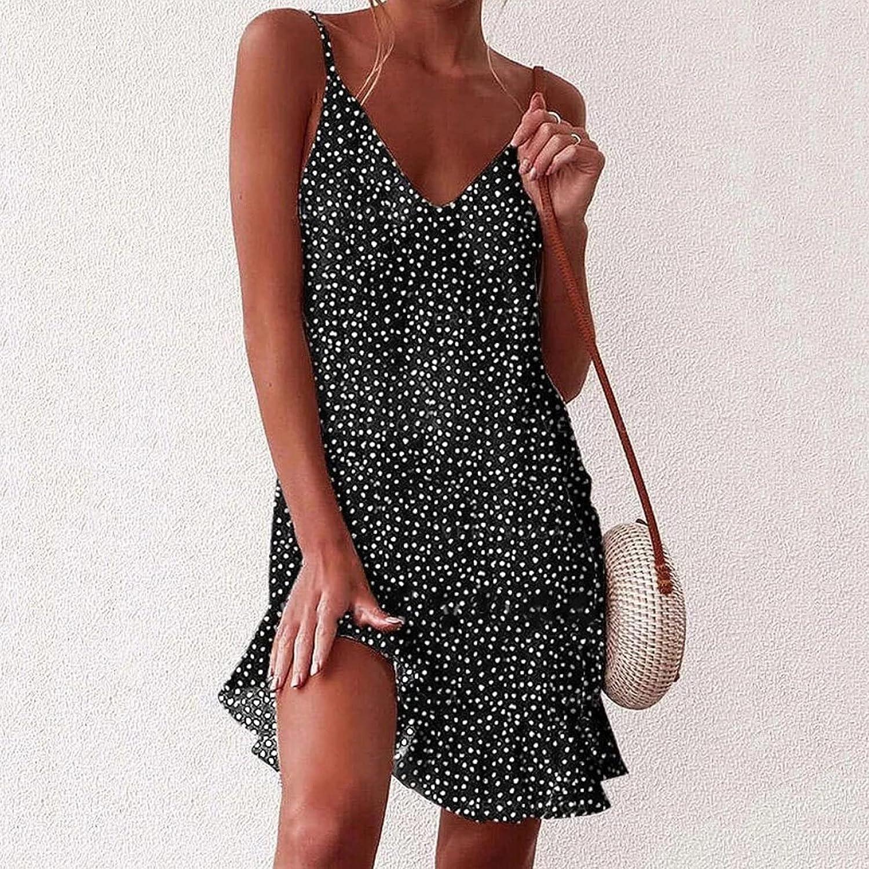 UBST Women's Summer Polka Dot Print Ruffled Mini Floral Dress V-Neck A Line Short Sleeve/Sleeveless Casual Sundress