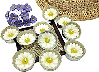NAVA CHIANGMAI Flower Tealight Candles Scented Tea Lights Aromatherapy Relax Candles for Birthday Party Supplies and Wedding Favor Baby Shower Decorations Pack of 10 Pcs(White Daisy Flower)