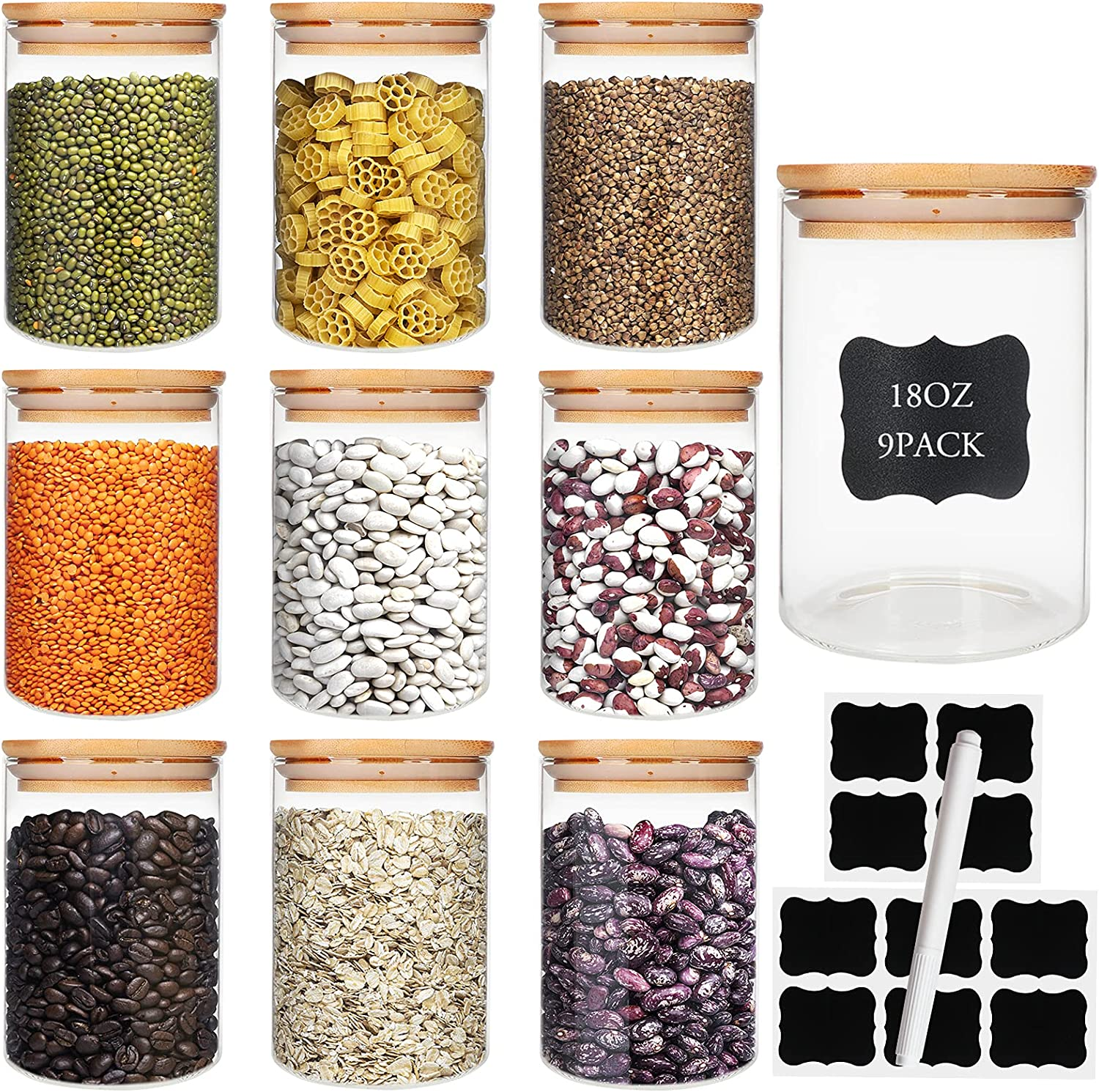 Glass Food Storage Containers Jars with Airtight Bamboo Lid 18oz 9pcs, 550ml Pantry Organization Jar, Glass Terrarium with Lid, Spice, Tea, Flour and Sugar Container, Canister Set for Kitchen Counter