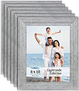 Icona Bay 8x10 Picture Frames (6 Pack, Speckled Gray), Picture Frame Set, Wall Mount or Table Top, Set of 6 Countryside Collection
