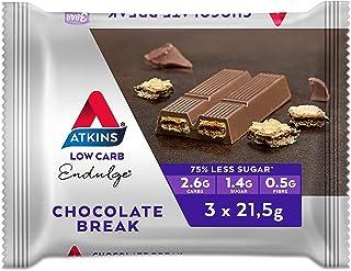 Atkins Endulge Chocolate Break Bars | Keto Friendly Bars | 3 x 21.5g Low Carb Chocolate Bars | Low Carb, Low Sugar, High F...