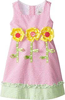 Little Girls' Seersucker Dress with Flower Appliques