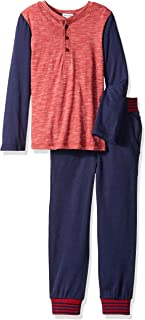 Boys' Long Sleeve Triblend Henley with Pant Set
