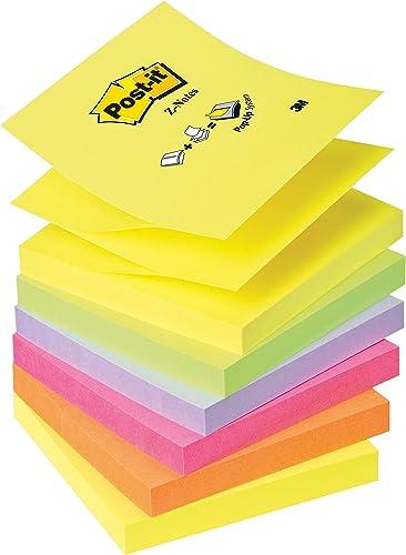 Post-It Lot de 6 Recharges Z-notes 100 feuilles 7,6 x 7,6 cm Néon Couleurs Assorties