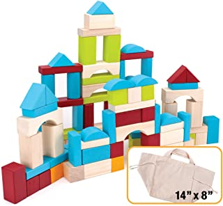 Imagination Generation 100 Piece Natural Wooden Building Block Set with Carrying Bag - Children's Deluxe Stacking Toy Set