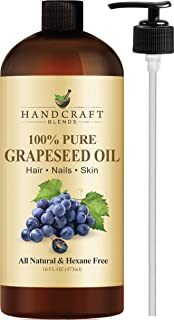 100% Pure Grapeseed Oil – All Natural Premium Therapeutic Grade – Huge 16 OZ - Carrier Oil for Aromatherapy, Massage, Moisturizing Skin & Hair