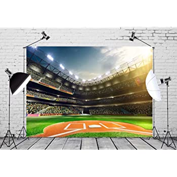 YongFoto 10x9ft Baseball Field Photo Backdrop Grass Land Ground White Lines Audience Spot Light Baseball Stadium Photography Background Tournament Championship Party Banner Birthday Decor Photobooth