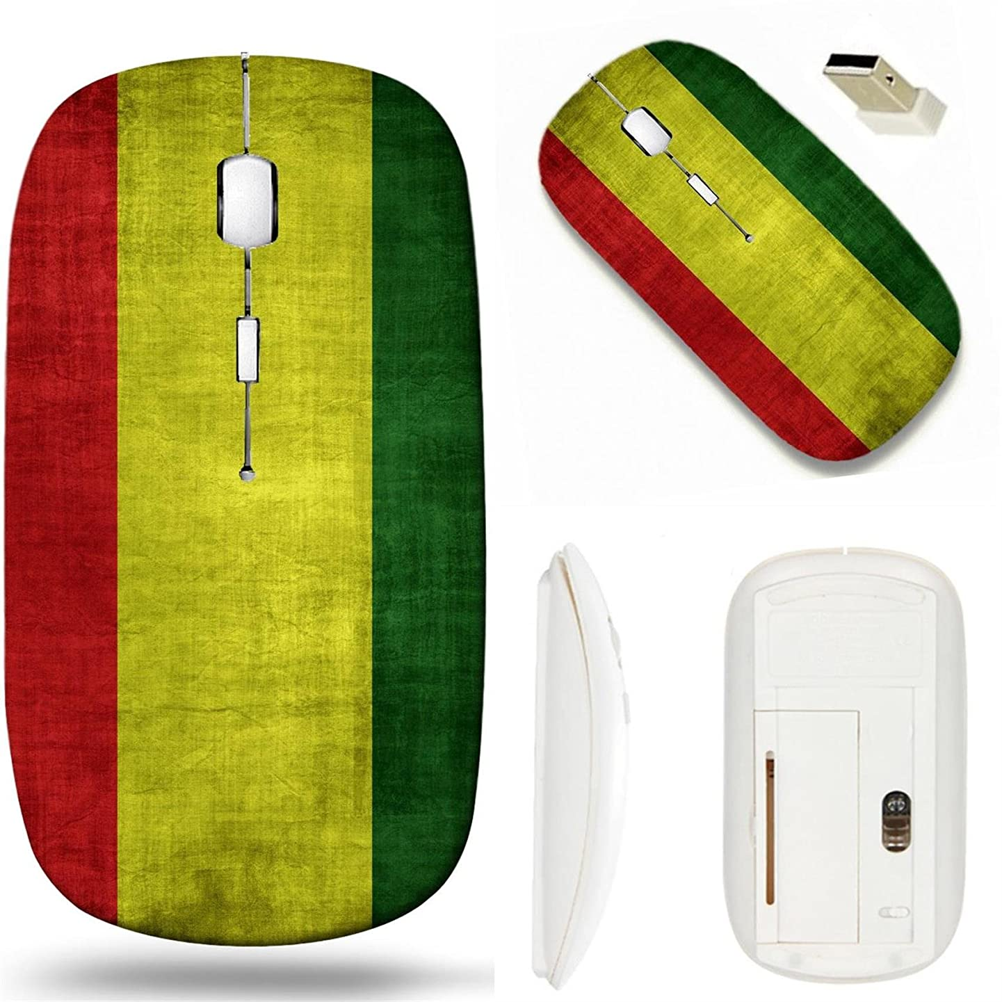 MSD Wireless Mouse White Base Travel 2.4G Wireless Mice with USB Receiver, Noiseless and Silent Click with 1000 DPI for notebook, pc, laptop, computer, mac book design 35334822 Rasta flag pattern retr