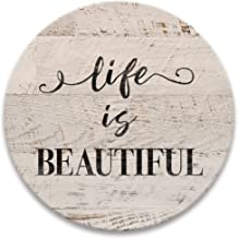Life is Beautiful Drink Coasters, Absorbent Self Drying Absorbent Coasters for Hot or Cold Drinks, Neutral Decor - Set of ...