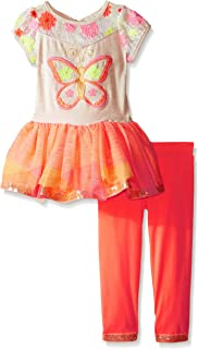 Rare Editions Girls' Butterfly Applique Tutu Legging Set