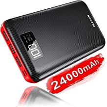 Power Bank 24000mAh Portable Charger Battery Huge Capacity with Three Outputs & Dual Inputs with Digital Display LCD Screen, Compatible Smartphone, Tablet and More (Portable Power Bank Red)