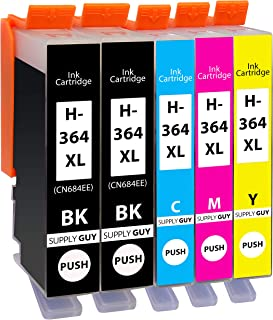 Supply Guy 5 tusze kompatybilne z HP 364 XL / N9J74AE (2x Czarny, 1x Cyan Błękitny, 1x Amarantowy, 1x Żółty)