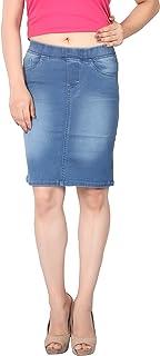 FCK-3 Women's Knee Length Silky Stretchable Denim Pencil Fit Skirt