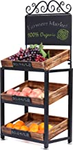 MyGift 3-Tier Vintage Metal & Burnt Wood Produce Stand with Chalkboard Signs