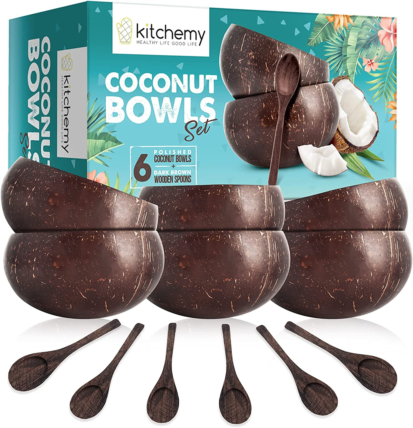 6 Coconut Bowls for Smoothie Acai Bowl - Unique Gift Natural Polished Shaped Handmade Reusable Containers for Serving Breakfast Vegan Salad Home Desk Office Party - Kitchen Decor - 6 Wooden Spoons