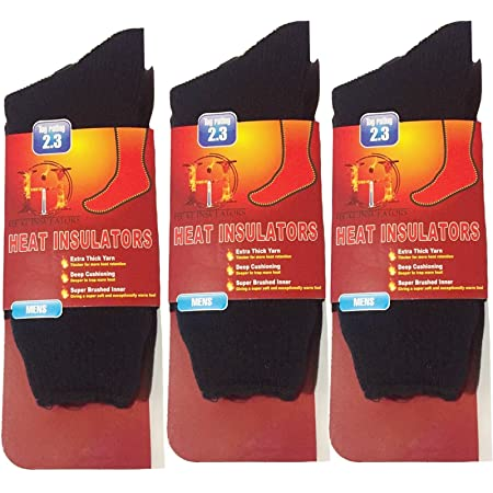 3 PAIRS MENS THERMAL WINTER WARM HOT HEAT SOCKS CHUNKY THICK 2.3 TOGS (MIX COLOURS, MENS 6-11UK)