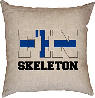 Hollywood Thread Finland Olympic - Skeleton - Flag - Silhouette Decorative Linen Throw Cushion Pillow Case with Insert