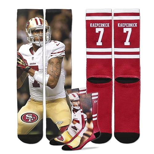 For Bare Feet Colin Kaepernick Jersey Socks Burgundy L