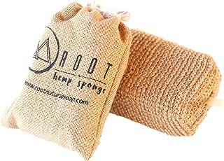 Root Natural Soap Hemp Sponge with Travel Bag - Exfoliating Body Scrubber, Eco-Friendly Bath Sponge, Machine Wash, Zero Waste