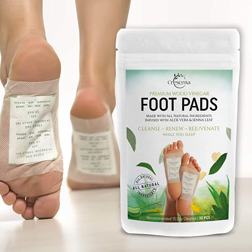 熱帯の説得力のある注入Crescena Bamboo Vinegar Foot Pads | Remove Impurities - Cleansing | 30 Piece Patch | Aids in Relieving Stress and Tension | Reduce Foot Odor | Pain Relief | All-Natural Ingredients | Organic Foot Pads 141[並行輸入]
