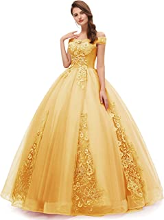 Women's Okaybrial Quinceanera Dress Blush Off Shoulder Lace Long Prom Ball Gown