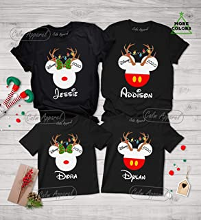 Family Christmas Reindeer Shirts, Matching Minnie Mouse Holiday Tee, Personalized Mom Dad Youth Kids Pajama Tops, Xmas Long Sleeve T Shirt