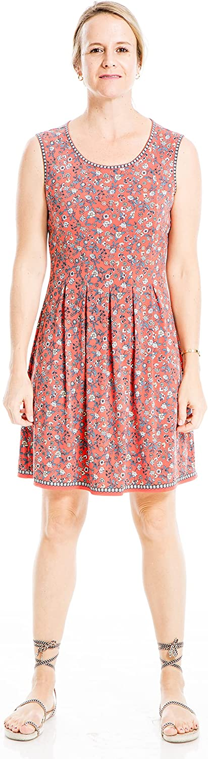 Max Studio Women's Printed Sleeveless Fit and Flare Dress