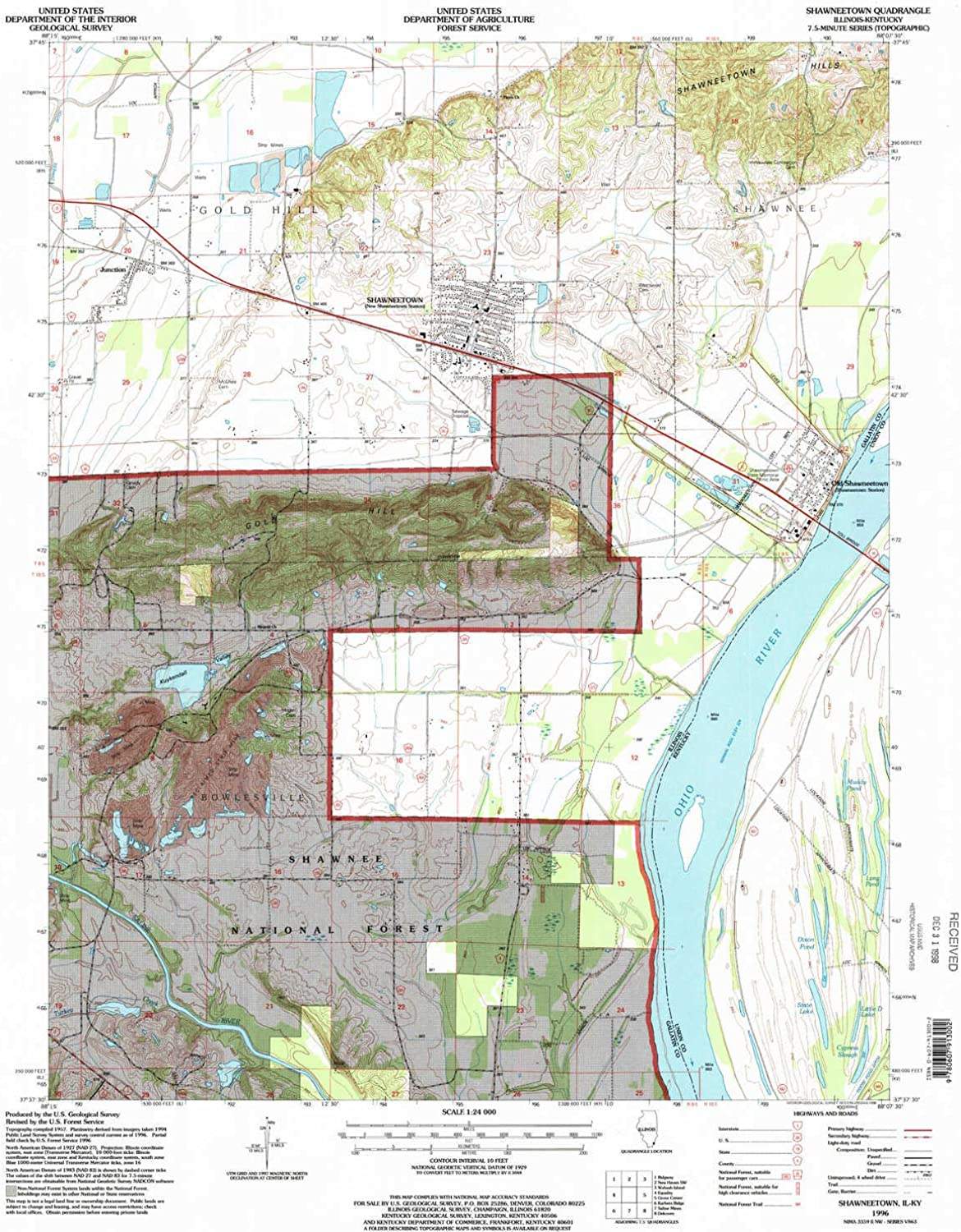 Shawneetown IL topo map, 1 24000 Scale, 7.5 X 7.5 Minute, Historical, 1996, Updated 1998, 26.8 x 22 in