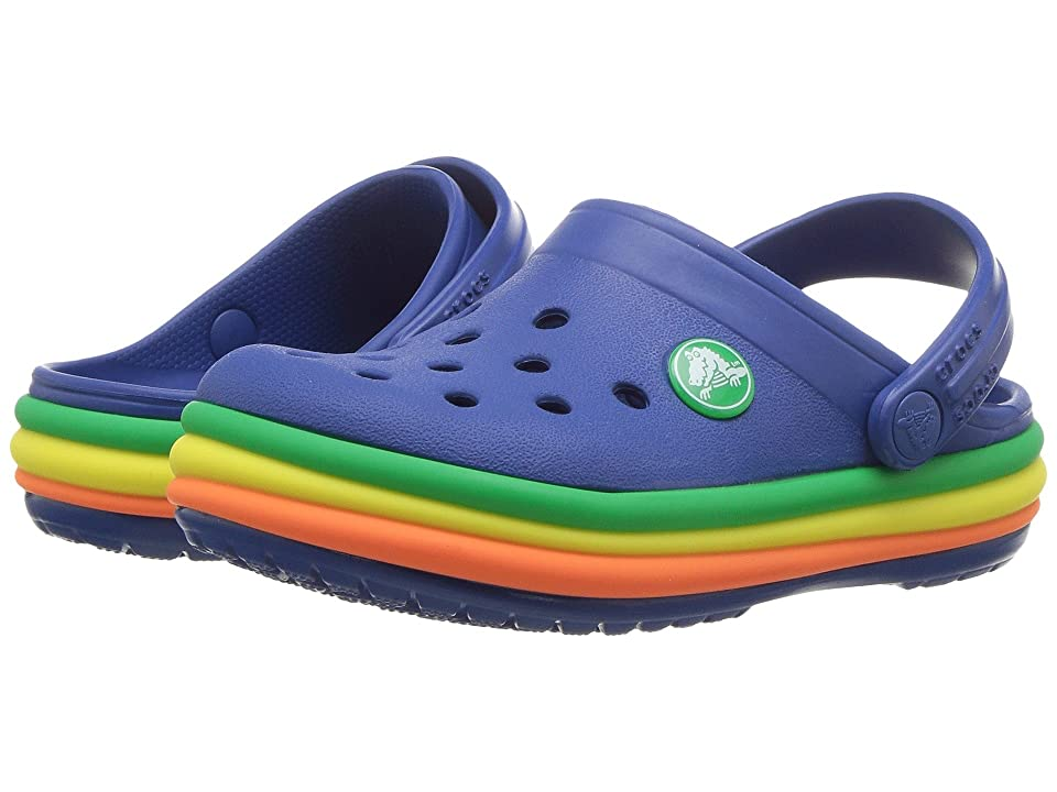 Crocs Kids Crocband Rainbow Band Clog (Toddler/Little Kid) (Blue Jean) Kids Shoes