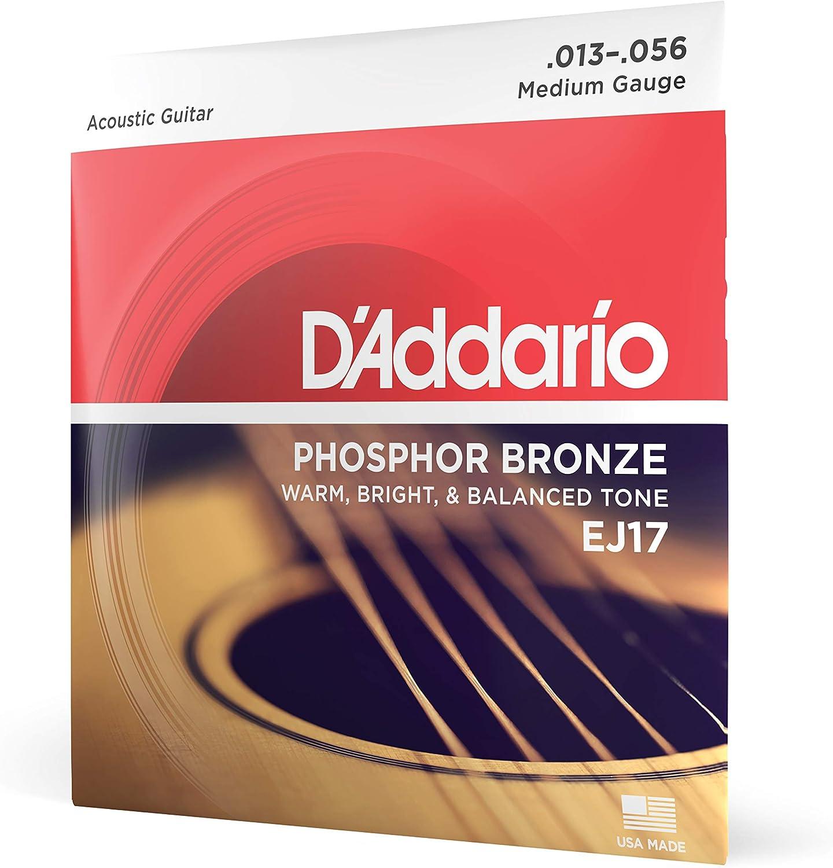 D'Addario EJ17 - Juego de cuerdas para guitarra acústica de fósforo/bronce, 013 - .056