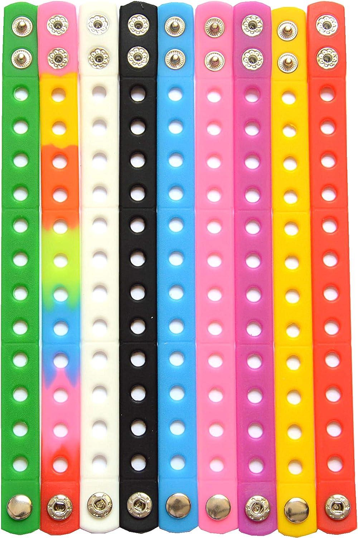 9pcs 9 OFFicial mail order Color 21cm Silicone Bracelets Fashion Char Wristband Shoe Fit for