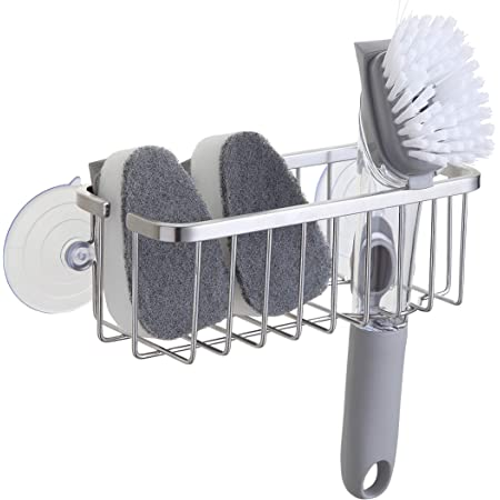 SunnyPoint NeverRust Deluxe Kitchen Sink Suction Holder for Sponges, Scrubbers, Soap, Kitchen, Bathroom, 304 Stainless Steel (Brushed Texture, 7.4 x 3.3 x 2.75 Inch)(Sponge & Brush NOT Included)