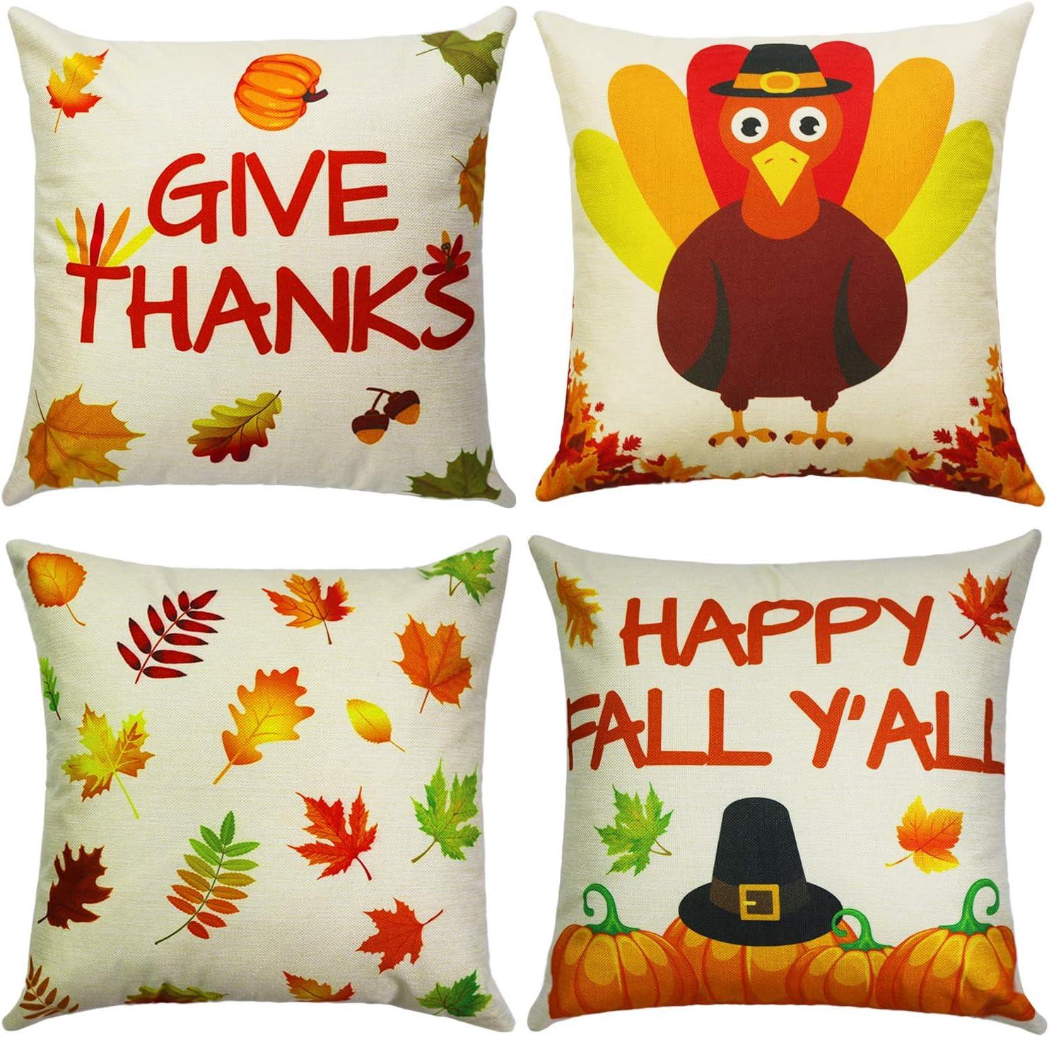 Cokoka Fall Thanksgiving Pillow Covers free 18x18 Set Many popular brands inch 4- Vint of