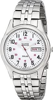Men's Silvertone White Dial Solar Railroad Watch