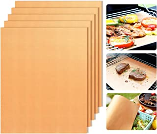 Copper Grill Mats Set of 5 - Non-Stick BBQ Grill Mat BBQ Grill & Baking Mats, Heavy Duty - Extended Warranty,Reusable,FDA Approved, Easy to Clean for Gas,Charcoa,Electric Grill-15.7×13In