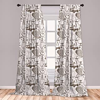 Ambesonne Golf 2 Panel Curtain Set, Old Fashioned Basket with Balls Shoes Golf Cart Gloves Bag Sports Equipment Design, Lightweight Window Treatment Living Room Bedroom Decor, 56