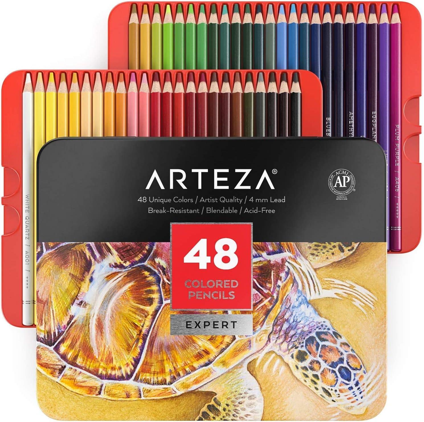 Arteza Lápices de colores profesionales para adultos y niños, Juego de 48, Estuche portátil de latón, minas resistentes a las roturas, Lápices para colorear, dibujar y sombrear