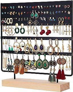 QILICZ Présentoir à bijoux avec 144 trous pour boucles d'oreilles et bijoux - 30 x 30 cm Noir