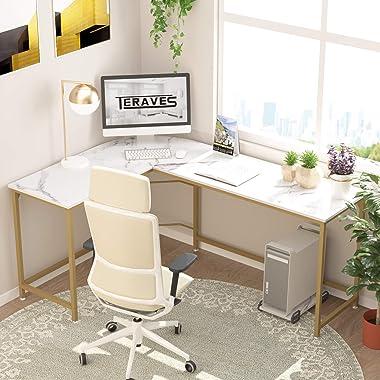 Teraves Reversible L-Shaped Desk Corner Gaming Computer Desk Office Workstation Modern Home Study Writing Wooden Table (Large