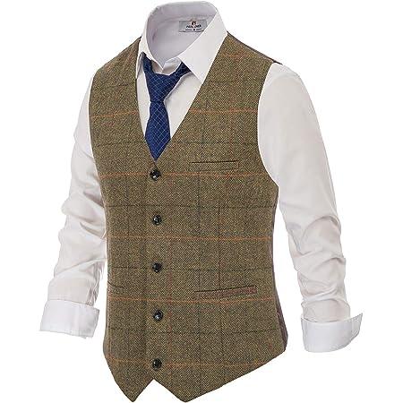 PAUL JONES Men's British Herringbone Tweed Vest Premium Wool Waistcoat, Coffee(plaid), S