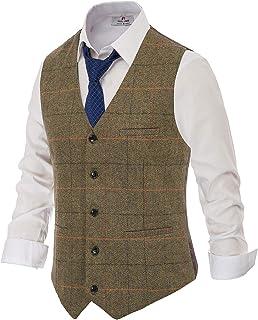 PAUL JONES Men's British Herringbone Tweed Vest Premium Wool Waistcoat - - Medium