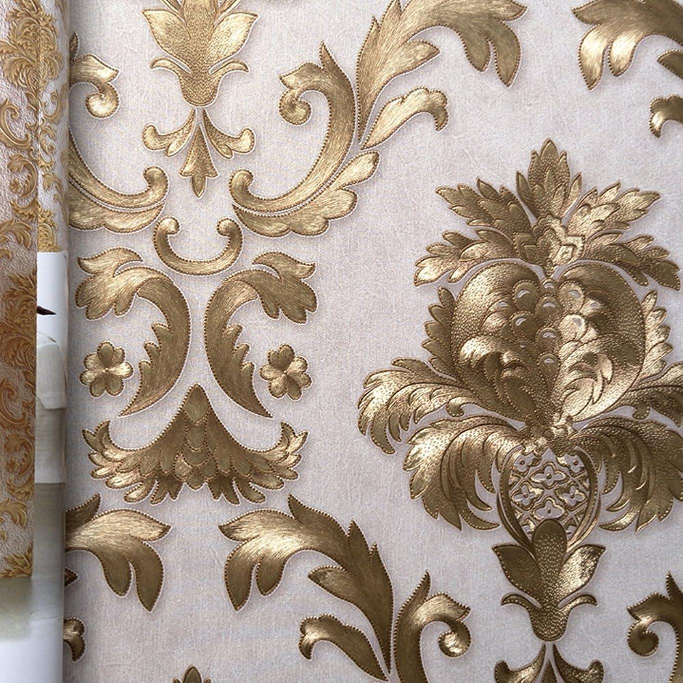 苛性リラックス護衛ヨーロッパ復古豪華レリーフ金色質感壁紙-インテリアシール客間、寝室とテレビの背景の- 28.87 x347インチ- Dracarys (金色の模様)