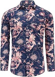 Men's Button Down Cotton Floral Shirt Long Sleeve Flower Shirt