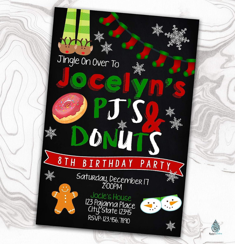 Christmas Pajama Party Invitation - and Sales for sale Xmas Donuts Sleepov PJ's Luxury goods