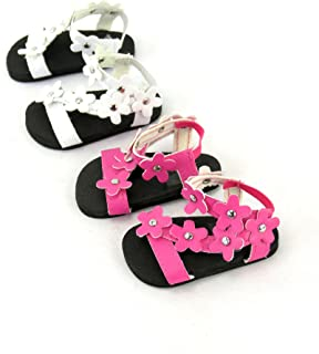 American Fashion World 2 Pack of Flower Power Sandals: Pink and White fits 18 Inch Doll