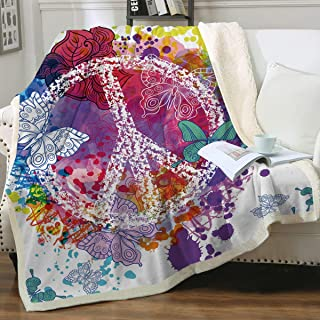 Sleepwish Rainbow Butterfly Peace Sign Blanket Colorful Sherpa Fleece Throw Blanket Bed Blankets for Couch Sofa (50
