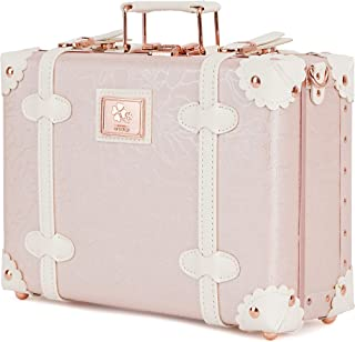 urecity Vintage and Cute Carry-on Non-wheeled Mini Leather Trunk Suitcase with Shoulder Strap